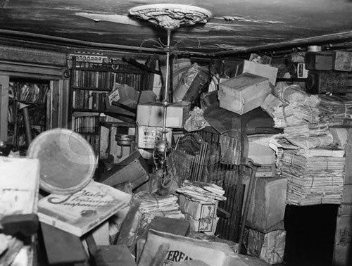 Inside Homer and Langley Collyer's Manhattan home, circa 1947. The brothers were recluses and hoarders and both died at home, among their things.