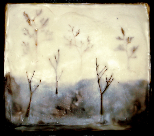 "Winter. 2012. Encaustic on board, 8 1/2"" x 7 1/2""."