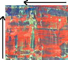 Detail of completed work showing the bi-directional scraping marks. Note artfully Photoshopped arrows.