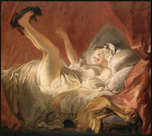 Jean-Honore Fragonard. 1732-1806. Young Woman Playing with Dog.