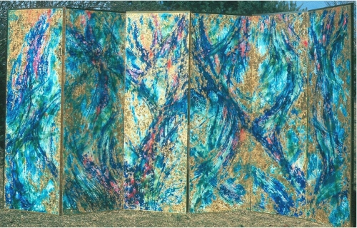 Esther Geller. Phragmoi Gates (1975). Encaustic on Masonite. Six joined panels each 6' high x 2' wide.