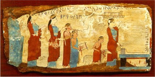 Encaustic panel fragment from the National Archaeological Museum of Athens.