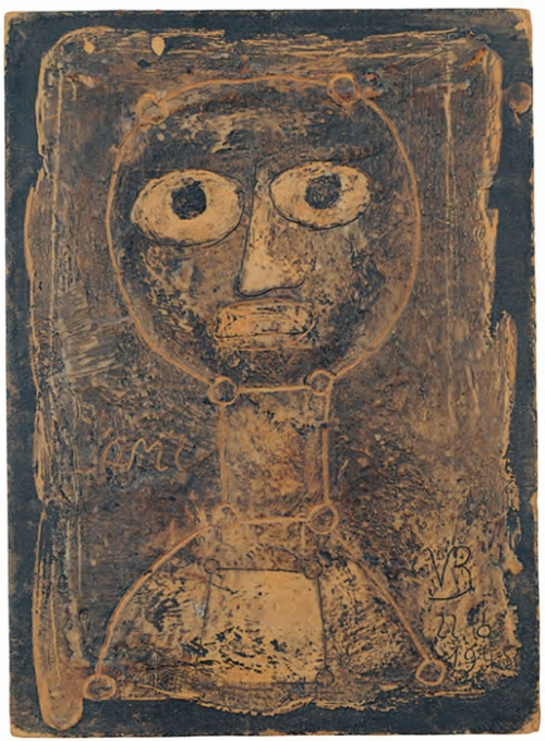 "Victor Brauner (1949) A L'Ami. Encaustic on card, 8 1/2"" x 6 1/2""."