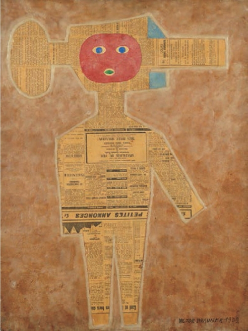 "Victor Brauner (1959) Le Specialiste du vide- Petites annonces. Oil, newspaper and wax collage on paper. 15 3/4"" x 19 3/4""."