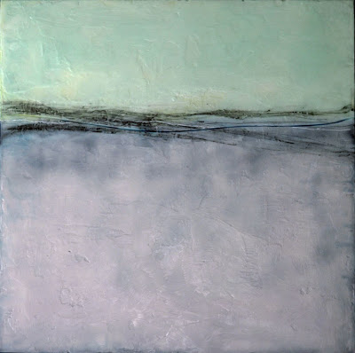 "Seven Seas by Leslie Ford. Encaustic, charcoal on wood. 24"" x 24""."