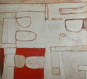 William Scott. Nile Valley Red and White. 1962. This piece could almost be encaustic.