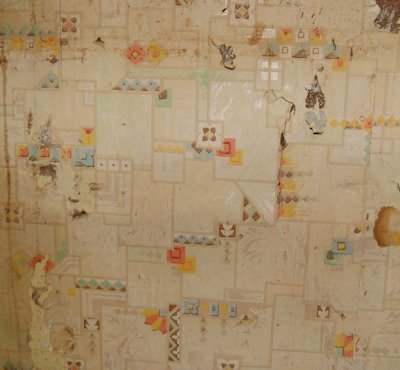 We think this is the earliest wall paper in the kitchen.
