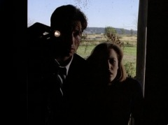 Scully and Mulder peering in the window.