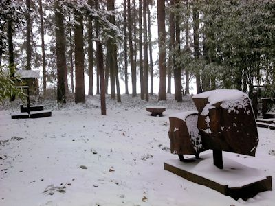 Sculptures in the snow.